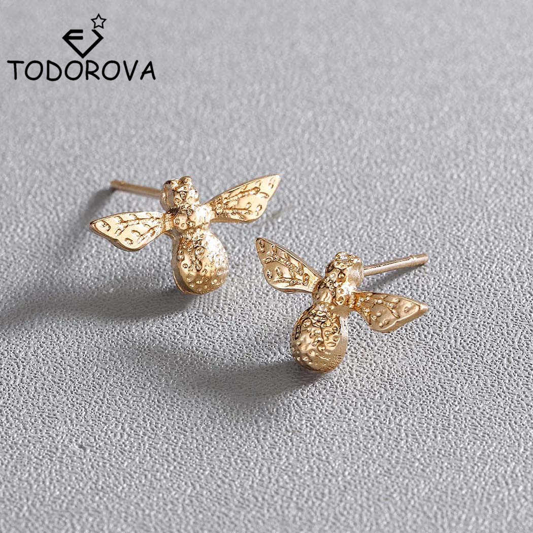 Todorova Cute Tiny Bee Earrings Women Fashion Jewelry Stainless Steel Daily Lovely Honey Bee Stud Earrings Girl boucle d'oreille