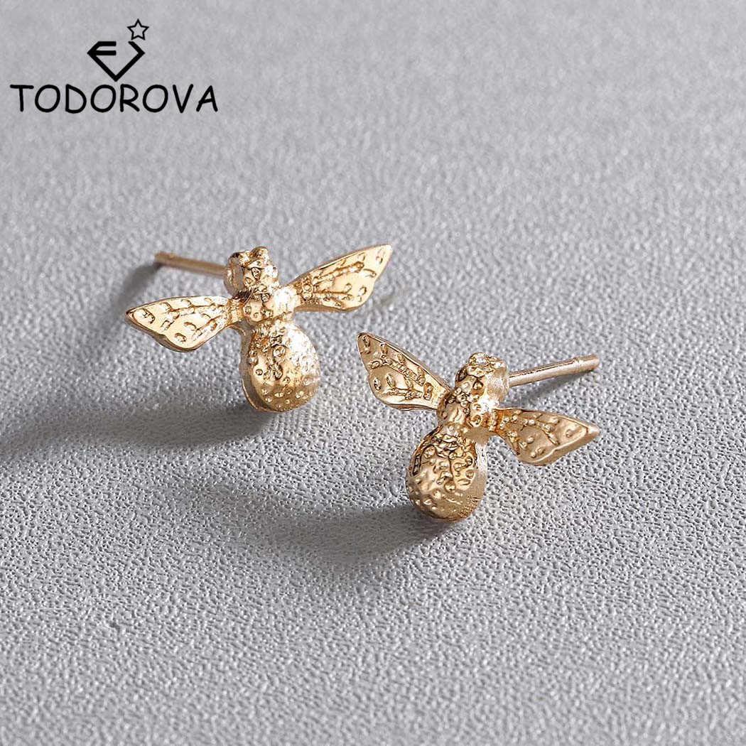Todorova śliczne małe pszczoła kolczyki kobiety moda biżuteria ze stali nierdzewnej codziennie piękny miód pszczoła stadniny kolczyki dziewczyna boucle d'oreille