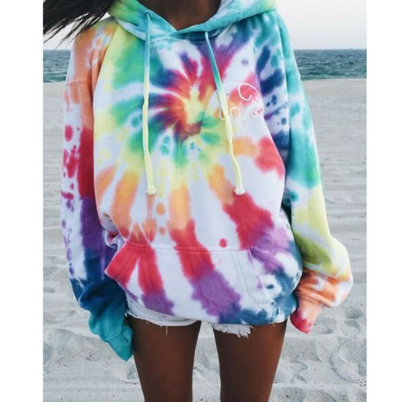 ALI shop ...  ... 4000167737547 ... 2 ... Women Hoodie Drawstring Autumn Winter Ladies Baggy Hooded Jumper Pull Femme Tie Colorful Dyeing Fashion and leisure Coat ...