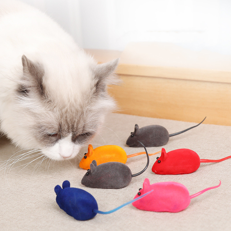 Squeaker Mouse Cat Toy Interative Flocking Voice Realistic Mouse For Playing Funny Toys for Kitten Cat Game Pet Supplies