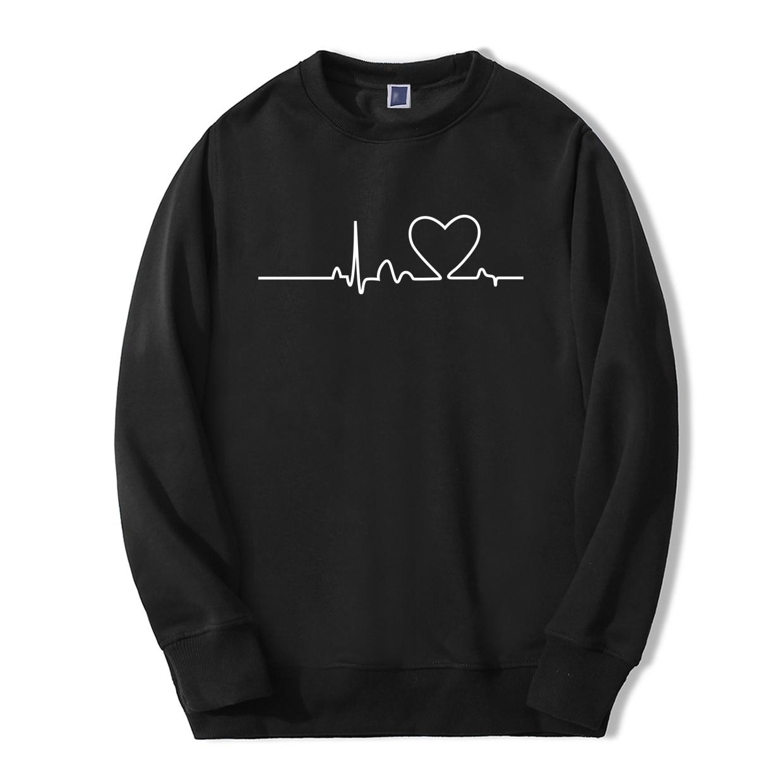 Funny Men Clothing Love Heartbeat Funny Print 2019 New Style Spring Winter Fashion Men Sweatshirt Hip Hop Fashion Casual Hoodies