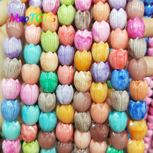 Mixed Tulip Flowers Coral Beads For Jewelry Making Necklace Bracelet Double Color Coral Beads DIY Accessories Wholesale недорого