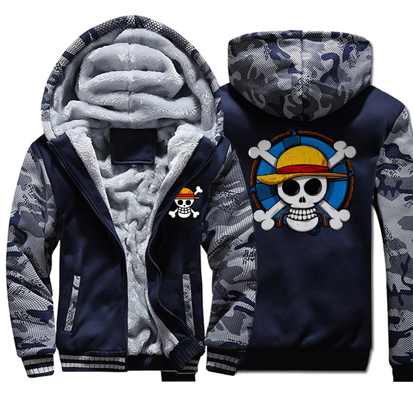 One Piece Luffy Sweater Zip Hoodie Thick Jacket Coat Men Luminous Sweatshirt