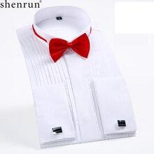 Shenrun Мужская рубашка с воротником-крылышком и длинным рукавом, приталенные свадебные рубашки для жениха, красные, белые, черные, для торжественных случаев, вечеринки, выпускного, бала, банкета