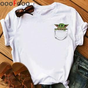 The Mandalorian Harajuku Funny Cartoon T Shirt Women Ullzang Baby Bebe Yoda T-shirt Grunge 90s Tshirt Hip Hop Top Tees Female(China)