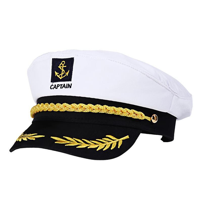 Adulto barco iate navio marinheiro capitão traje chapéu boné marinha almirante bordado captains (branco)