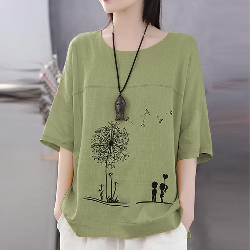 Dressin Women Blouse Ladies Vintage Casual Hollow Out O-Neck Half Sleeve Linen Short Long Top T-Shirt Plus Size