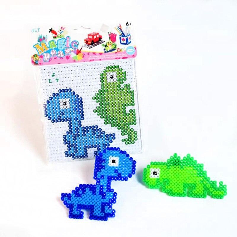 5mm Hama Beads Dinosaur Pattern Fuse Beads Kit Puzzle Education Toy Fuse Bead Jigsaw Puzzle 3D