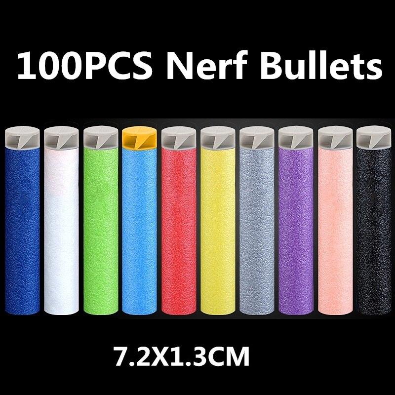 Nerf Bullets 100PCS 7.2cm Nerf Gun Bullet Refill Darts For Nerf Accessories Tactical EVA Soft Spiral Bullet Hollow Head Kids Toy