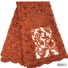 Latest burnt orange African Lace Fabric 2020 High Quality Lace French Milk Silk Lace Fabric With Sequins nigeria party dress(China)