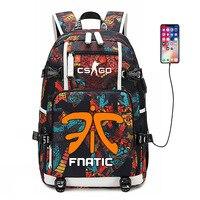 CS GO FNATIC Virtus Backpack USB Port Rucksack Bag Snake Pattern Teenager Student School Bags travel Shoulder Laptop Bag