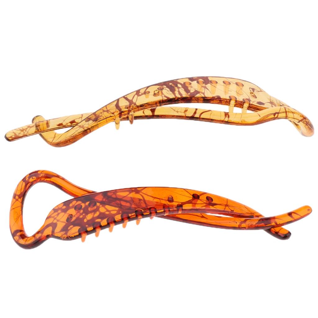 Prettyia 2x Banana Hair Clip Claw Comb Simple Elegant Design for Stick Hair