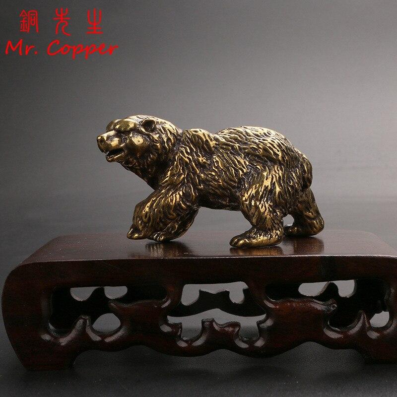 Чистый Медь коричневый Статуэтка медведя орнамент твердая латунь Полар-флиса животного статуэтки, миниатюры Чай стол для домашних животны...