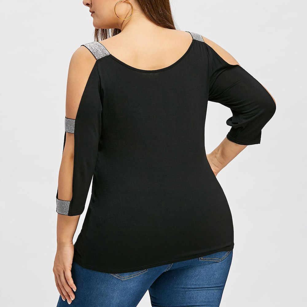 #35เซ็กซี่2020ทำงานผู้หญิงแฟชั่นPlusขนาดบันไดตัดGlitteryเสื้อO-Neckเสื้อเซ็กซี่VคอBlusas
