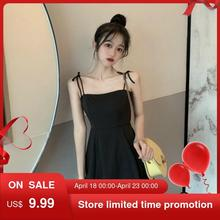 Black Spaghetti Strap Slip Dress 2021 Summer Sundresses Korean Fashion Style Off Shoulder Dress Backless Mini Party Y2k Dress