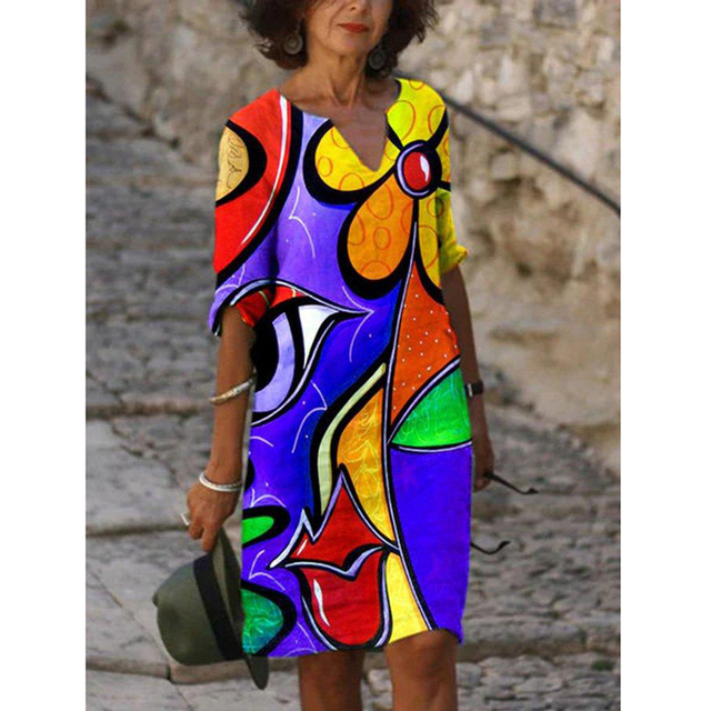 Plus Size Casual V Neck Abstract Printed Dresses 4