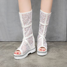 2019 Summer Platform Boots Women Buckle Cross Strap Lace Mesh Peep Toe Black White Pink Mid Calf Riding Boots Shoes Lady(China)
