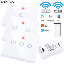 SMATRUL Tuya vida inteligente APP WiFi táctil interruptor de RF 433Mhz Panel de pared DIY relé temporizador casa Alexa de Amazon lámpara de enchufe 90-250V(China)