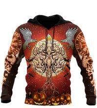 Viking Хэллоуин-древо жизни с Ворон 3D Толстовка для мужчин и женщин Harajuku верхняя одежда на молнии пуловер Толстовка Повседневная мужская куртк...