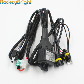 Rockeybright H4 Bi Xenon headlight bulb controller HID xenon bulb H4 hi/lo headlamp relay cable wiring harness for H4 xenon lamp 12v h4 3 9004 9007 h1 35w 55w hid bixenon headlight hi lo bulb h4 3 hi lo lamp 4300k 5000k 6000k hid headlight lamp bulbs