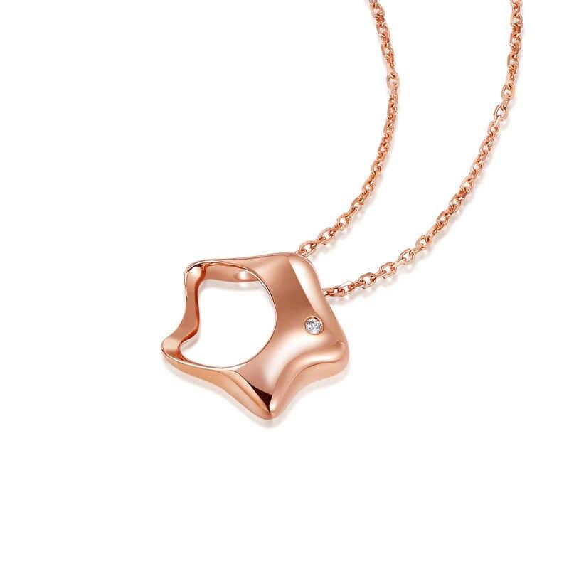 Lucky Star เพชร 18K จริงทองคำ AU750 จี้ Charm สร้อยคอชุดสำหรับหญิงสาวหญิงของขวัญแฟนซี upscale เครื่องประดับ