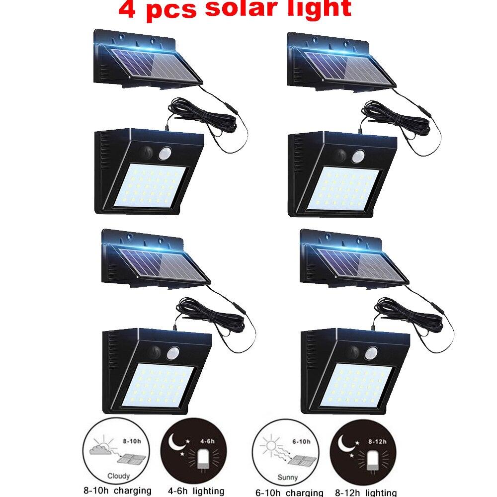 2/4pcs Wireless Motion Sensor Solar Light 100/56/30 LED Garden Path Wall Outdoor Street Light 4 Modes Solar Lamp Waterproof Spli