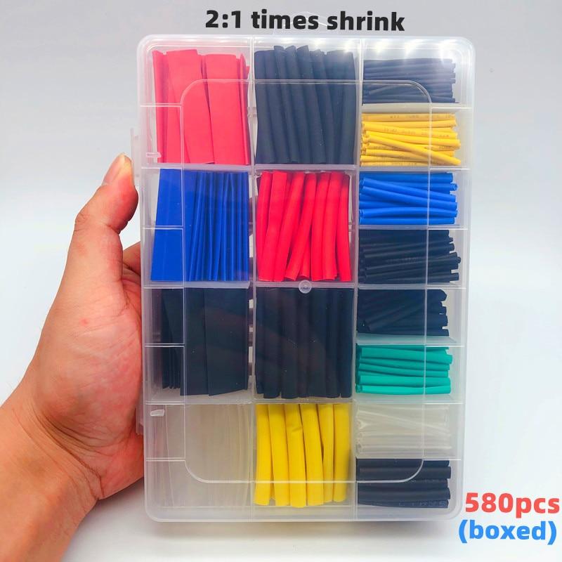580 adet kutulu, tel bağlantısı aksesuarları, ısı borusu shrink 2:1 elektronik DIY kiti, izoleli poliolefin kılıf endüstriyel/ev