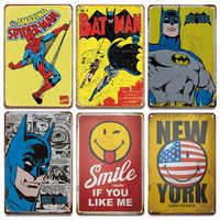 Vintage Smile Tin Signs Cartoon Bat Spider-Man Metal Sign Painting Bathroom Laundry Baby Living Room Decoration Retro Home Decor