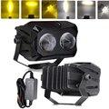 60 Вт квадратный светодиодный рабочий светильник 12 в белый Янтарный проекционный объектив рабочее освещение для автомобиля 4WD ATV SUV UTV мотоци...