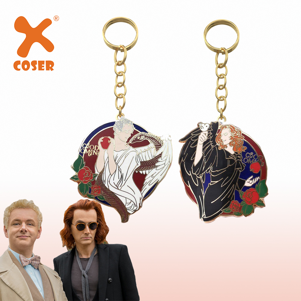 Xcoser Delicate Good Omens Accessory Aziraphale And Crowley Keychain Cosplay Accessories  Halloween Christmas Gifts