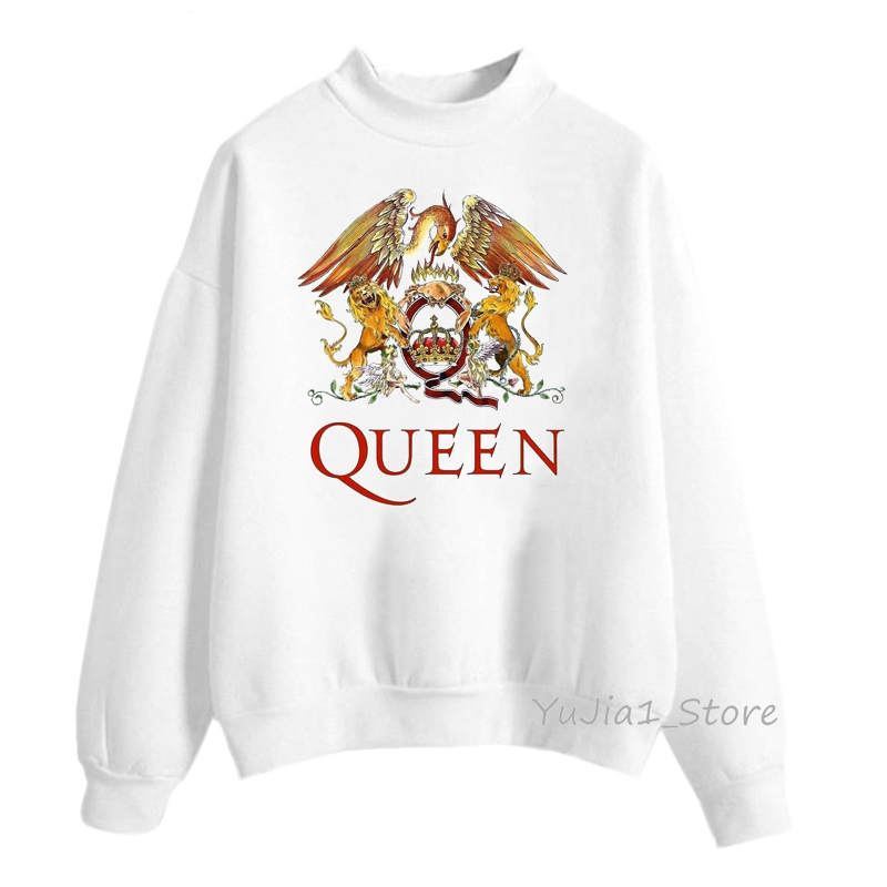 Vintage Queen Band sweatshirt Freddie Mercury Print Hoodies Women White Hip Hop Rock Hoddies Gothic Clothes Winter Streetwear