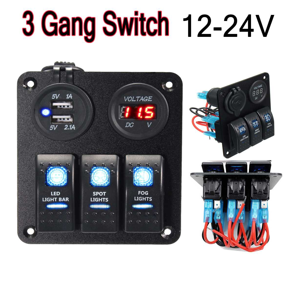 DC 12 24V Rocker Switch Panel USB Socket Power Volt Meterr Charger LED Rocker Switch Panel Dual USB Charger Cigarette Socket|Car Switches & Relays| |  - title=