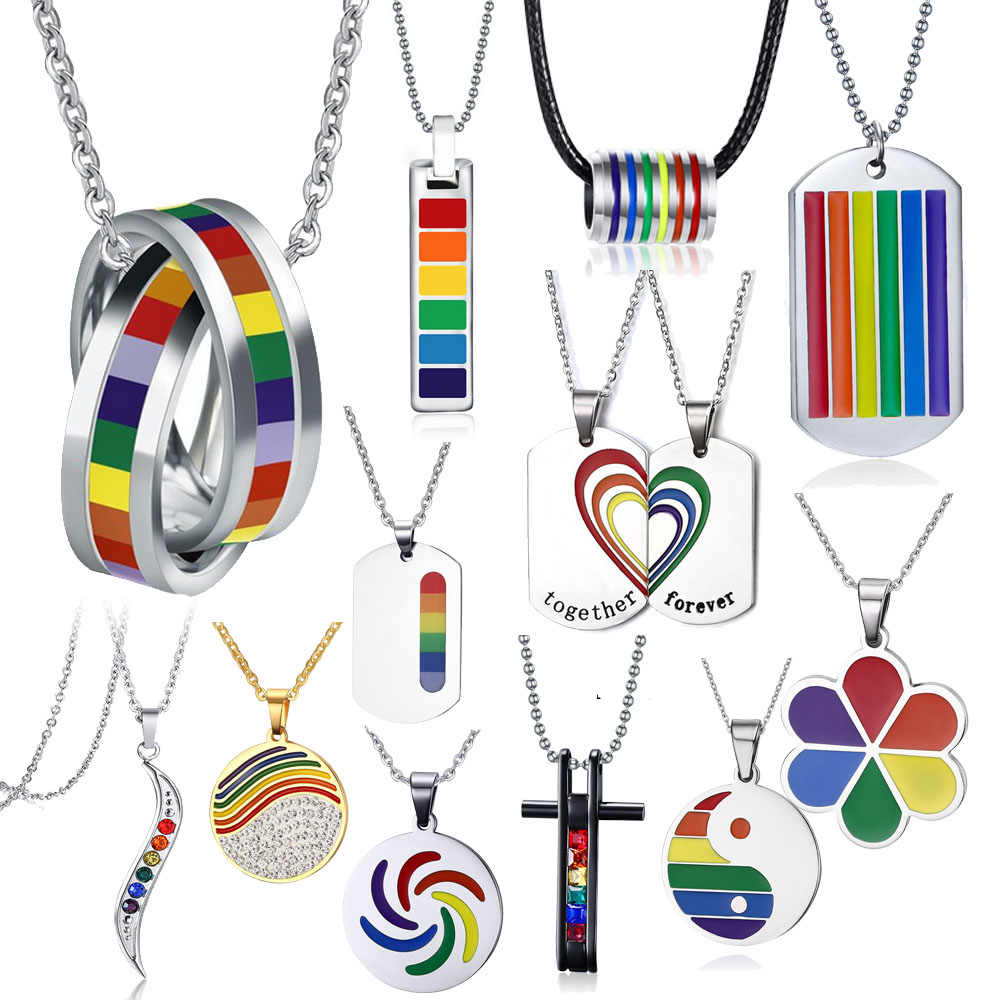 Mens Womens Rainbow Kleurrijke Lgbt Ketting Rvs Wedding Band Lebian & Gay Ketting Drop Shipping