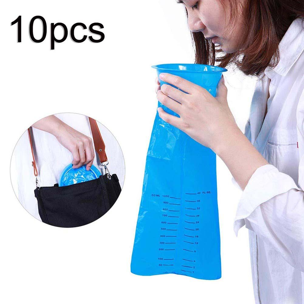 Hot 10Pcs 1000ML Disposable Travel Car Airplane Motion Sickness Nausea Vomit Cleaning Bag