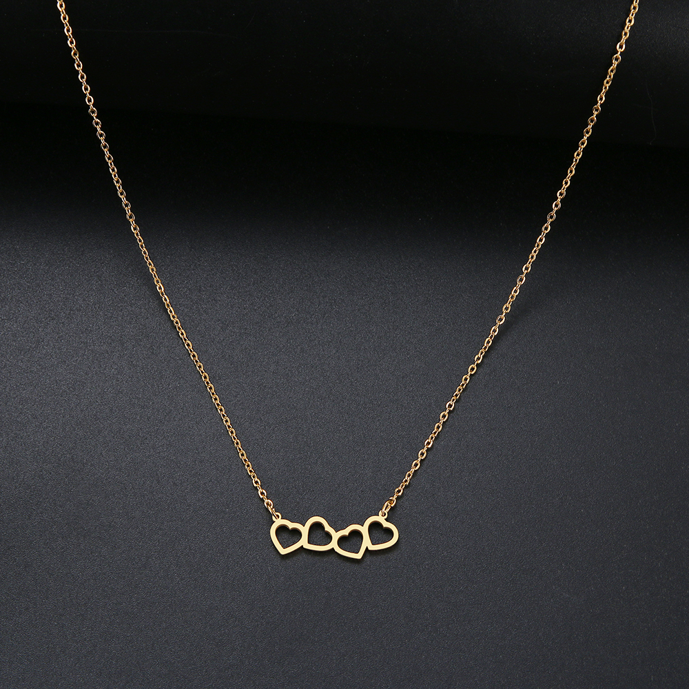 CACANA Sweet Love Connection Heart Choker Necklace Statement Girlfriend Gift Cute Gold Color Necklace Stainless Steel Jewelry