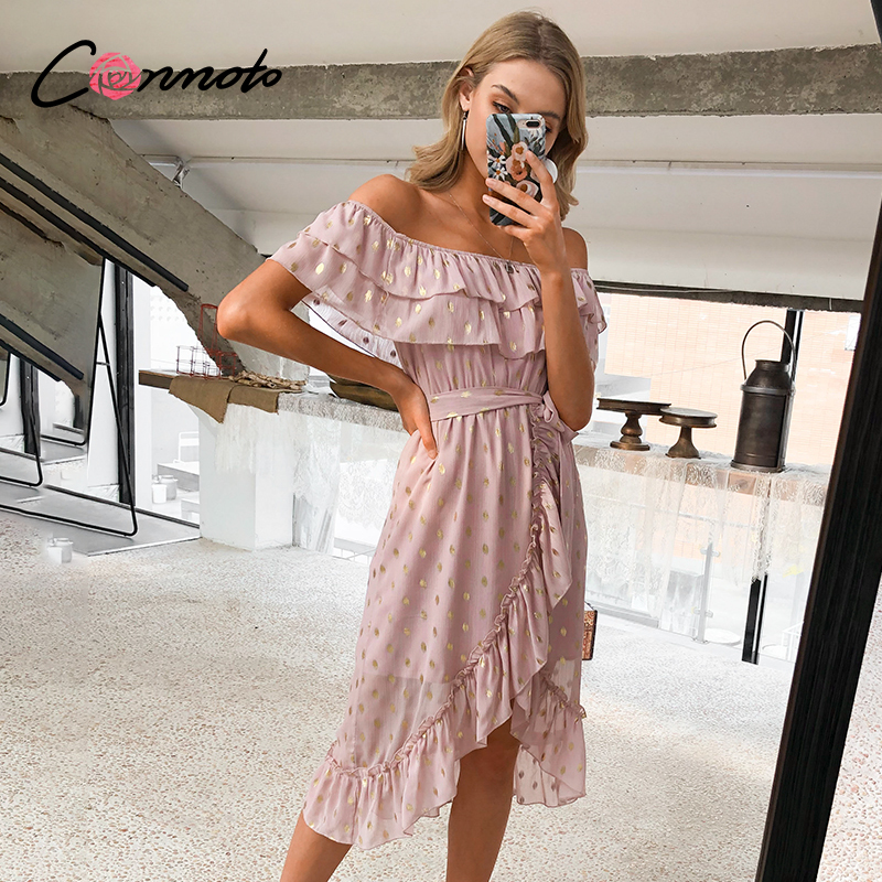 Conmoto Chiffon Pink Sexy Off Shoulder Dress Women Beach Holiday Summer 2020 Dresses Bow Flounce Bronzing Casual Dress Vestidos