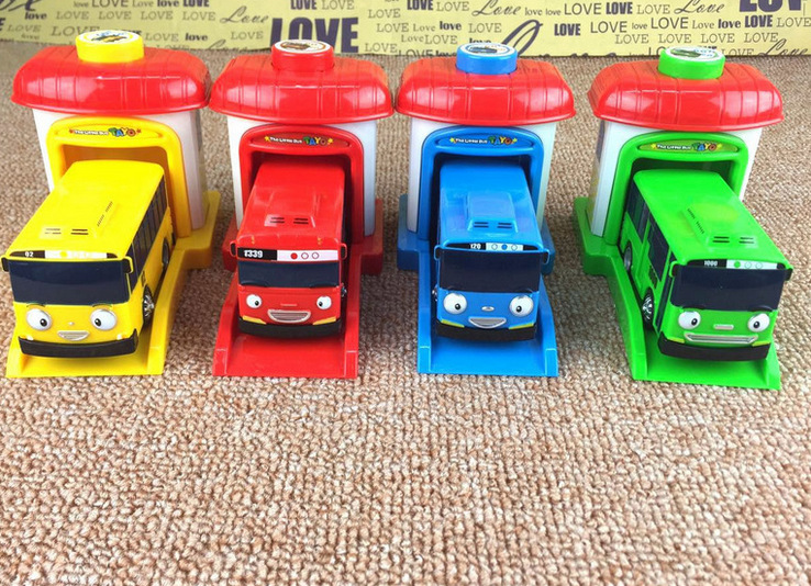 [Funny] 4pcs/set Scale Model Tayo The Little Bus Children Miniature Bus Baby Oyuncak Garage Tayo Bus Ejection Impact Car Vehicle