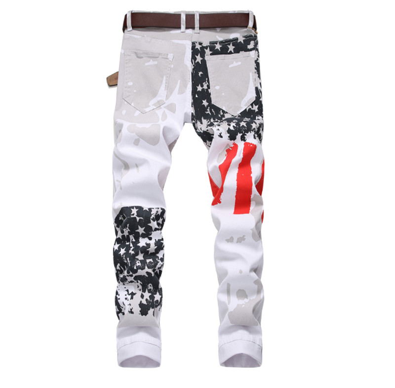 Big size 28 44 Brand Men 39 s pants 2019 New White Printed Fashion Men Jeans Elastic Printing American Flag Jeans in Jeans from Men 39 s Clothing