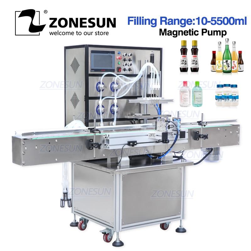 ZONESUN Disinfectant Alcohol Magnetic Pump Aerosol Soda Bottled Water Automatic Bottle Ethanol Liquid Packing Filling Machines