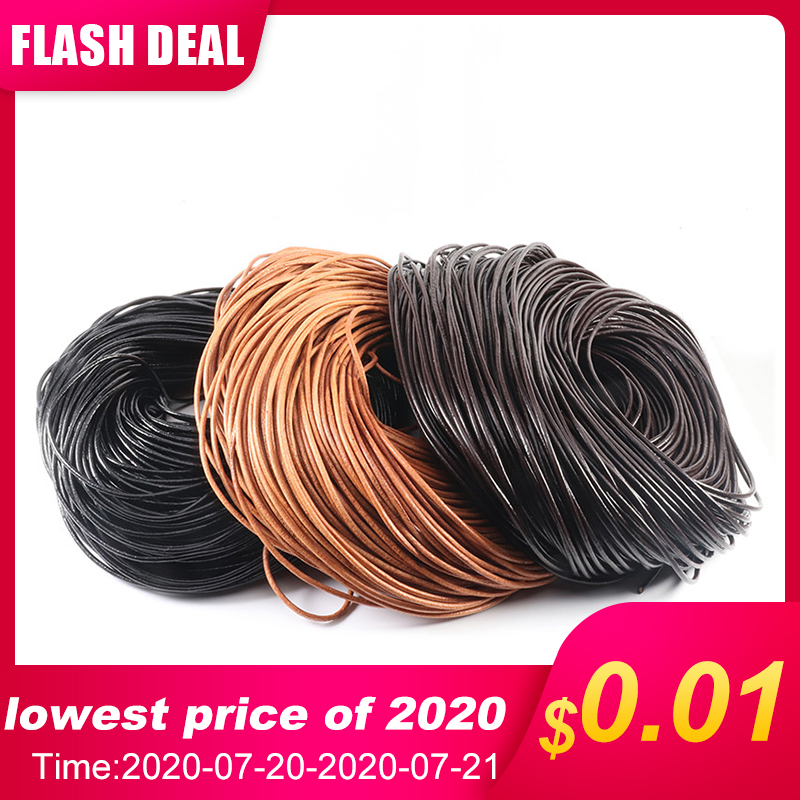 100% Genuine Leather Round Thong Cord Leather Cord String Rope for DIY Necklace Bracelet DIY Jewelry Making Dia 1/1.5/2/3/4/5mm(China)