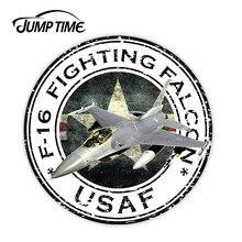 JumpTime 13cm x 13cm USA F-16 samolot F-16 USAF U.S.A.F. Wojskowa naklejka uszczelniająca okrągła flaga Laptop Book motocykl kask drzwi