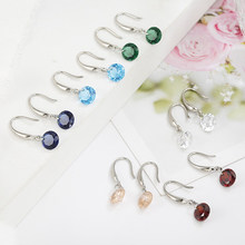 Fashion Women Hoop Drop Earrings Colorful Crystal Round Rhinestones Charming Earrings Jewelry Weddings(China)
