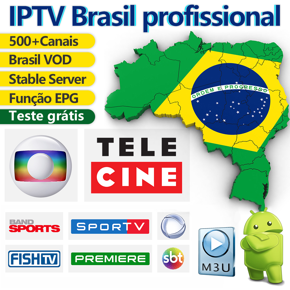 IPTV Brazil Android M3U IPTV Subscription Portuguese IPTV Code WSTV EPG 500+ Live Brasil Channels With Free VOD Brazil IP TV