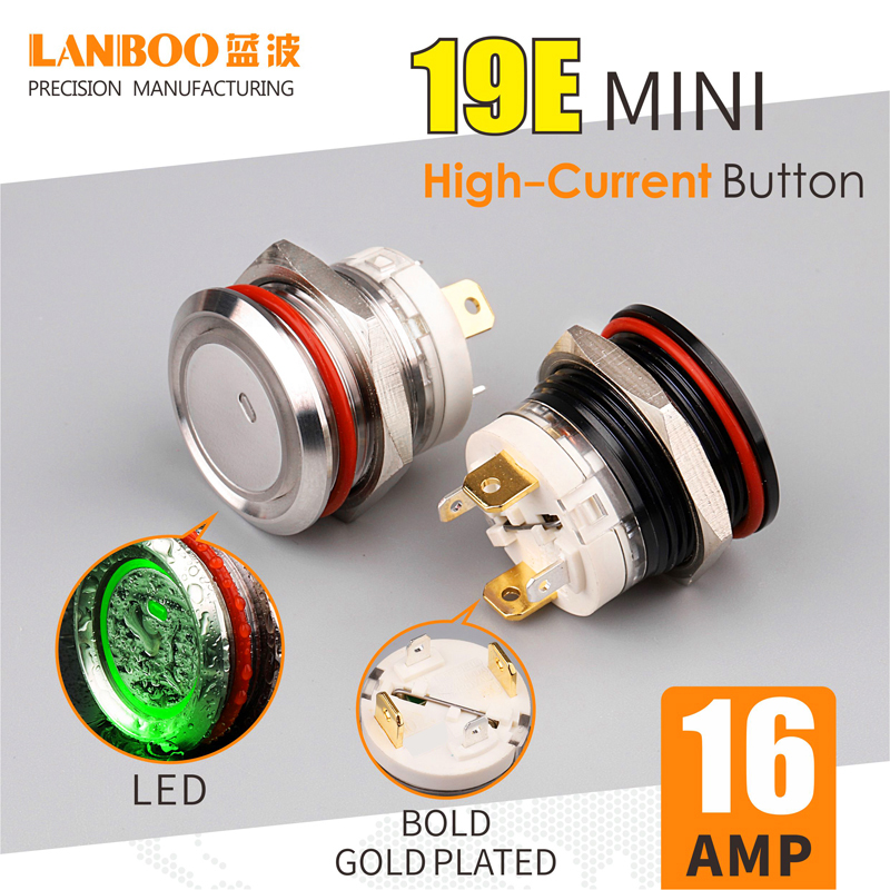 LANBOO 19mm metal push button switch 16Amp high current with LED latching or momentary 1NO 4pin waterproof IP67 MINI switch