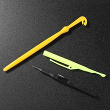 Yellow Fishing Tackle Knot To Hook Tying Tool Kit plastic Needles Tying Tool Kit Fish Remover Extractor Knot Picker Pesca Access 2pcs 18cm 14g plastic hook remover disgorger knot picker tyer tier fly fishing hooks tying tools fish unhook extractor detacher