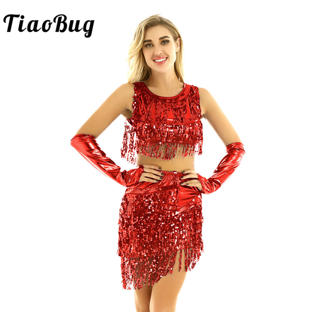 TiaoBug Women Shiny Metallic Sequins Tassels Fringe Latin Dance Dress Performance Costume Sleeveless Crop Tops With Skirt Outfit