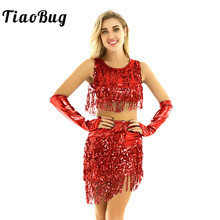 TiaoBug Women Shiny Metallic Sequins Tassels Fringe Latin Dance Dress Performance Costume Sleeveless Crop Tops with Skirt Outfit