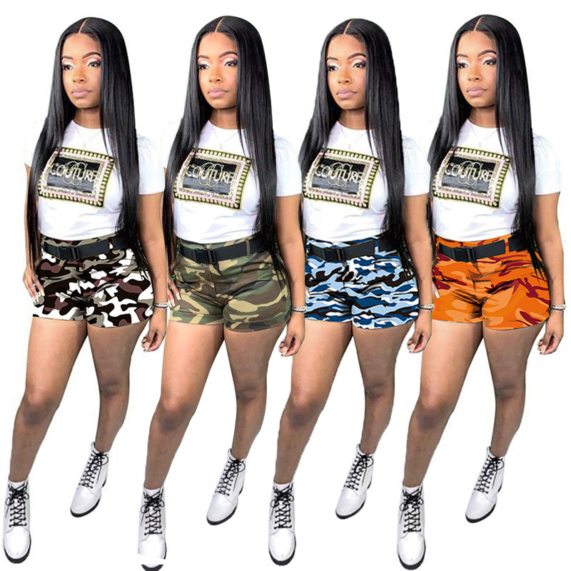 Re Mai Kuan Short-Sleeved T-shirt Camouflage Shorts Two-Piece Female