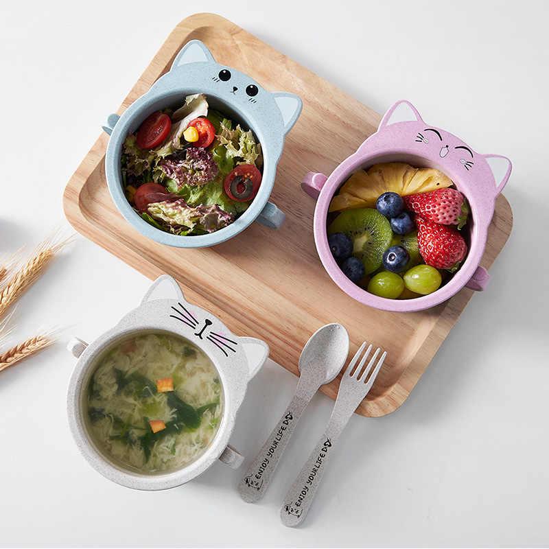 3pcs Baby Feeding อาหารบนโต๊ะอาหารการ์ตูนแมวเด็กจานเด็กกินอาหารเย็นชุดจานร้อนชาม + ช้อน + ส้อม