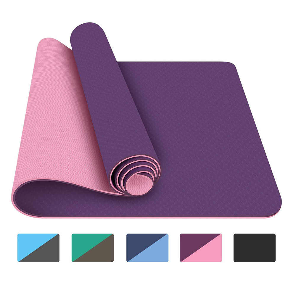 Indoor TPE Yoga Mat Exercise Fitness Home Gym Pilates Sport Non Slip Dual Layer